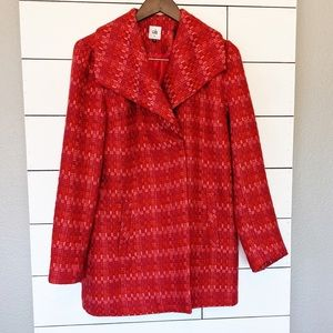 Cabi Pink an Red Pea Coat Jacket Small